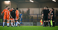 Blackpool's Joe Bunney, left, Jay Spearing, centre, and Blackpool's Callum Guy speak to Referee Thomas Bramall at the end of the game<br /> <br /> Photographer Chris Vaughan/CameraSport<br /> <br /> The EFL Sky Bet League One - Rochdale v Blackpool - Wednesday 26th December 2018 - Spotland Stadium - Rochdale<br /> <br /> World Copyright &copy; 2018 CameraSport. All rights reserved. 43 Linden Ave. Countesthorpe. Leicester. England. LE8 5PG - Tel: +44 (0) 116 277 4147 - admin@camerasport.com - www.camerasport.com