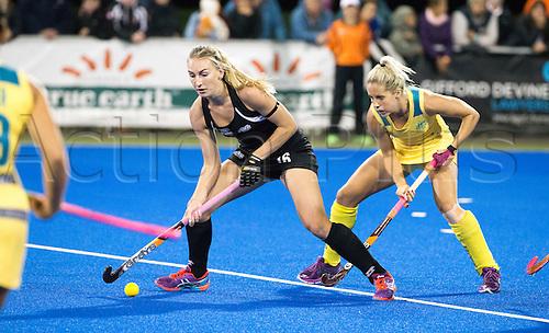 09.04.2016. Hastings, New Zealand.  New Zealand's Liz Thompson in action. NZL Black Sticks Women versus  Australia. Semi final, Festival of Hockey, Unison Hockey turf, Hastings, New Zealand. Saturday, 09 April, 2016.