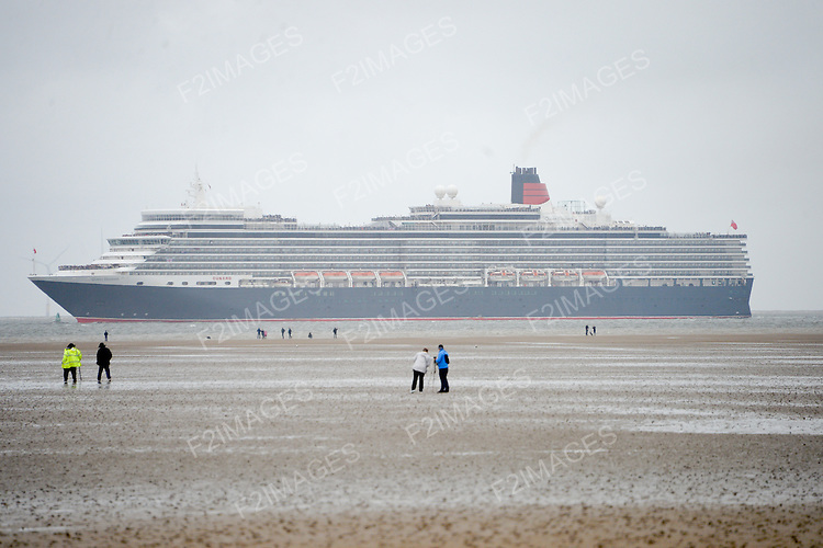 Cunard Line's Three Queens Meeting Liverpool. <br /> Crosby Beach 25.5.15. Queen Elizabeth viewed from Crosby Beach on her  way into Liverpool.