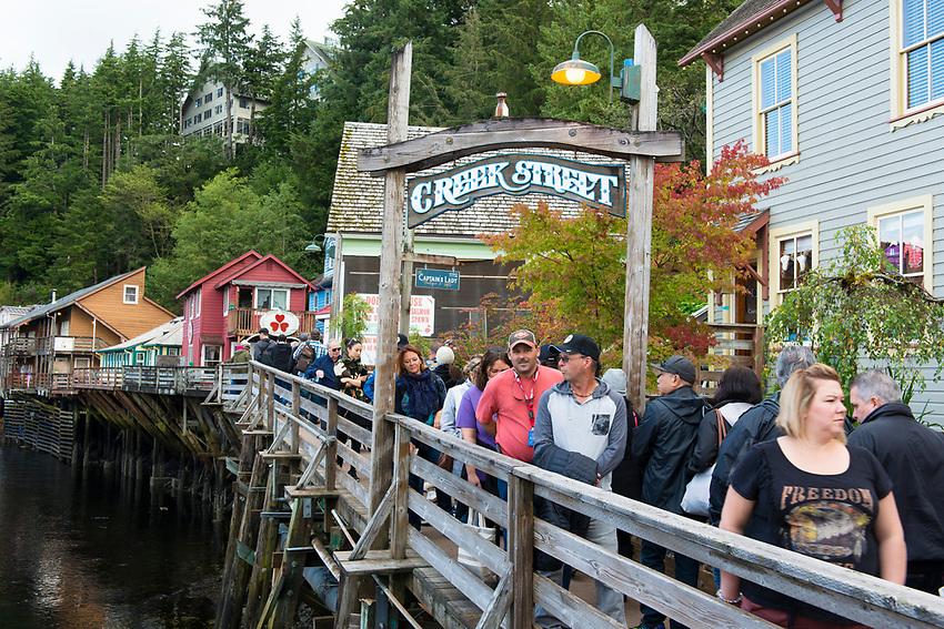 Ketchikan Alaska. Historic Creek Street. An active salmon creek in the heart of Ketchikan's historic section.