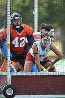 Stanford, CA - SEPTEMBER 13:  Defender Jennifer Luther #11 and goalkeeper Alessandra Moss #42 of the Stanford Cardinal during Stanford's 3-2 loss against the Iowa Hawkeyes on September 13, 2008 at the Varsity Field Hockey Turf in Stanford, California.