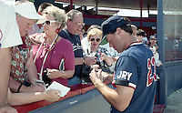 Boston Red Sox Tom Brunansky (23) signs autographs during spring training circa 1992 at Chain of Lakes Park in Winter Haven, Florida.  (MJA/Four Seam Images)