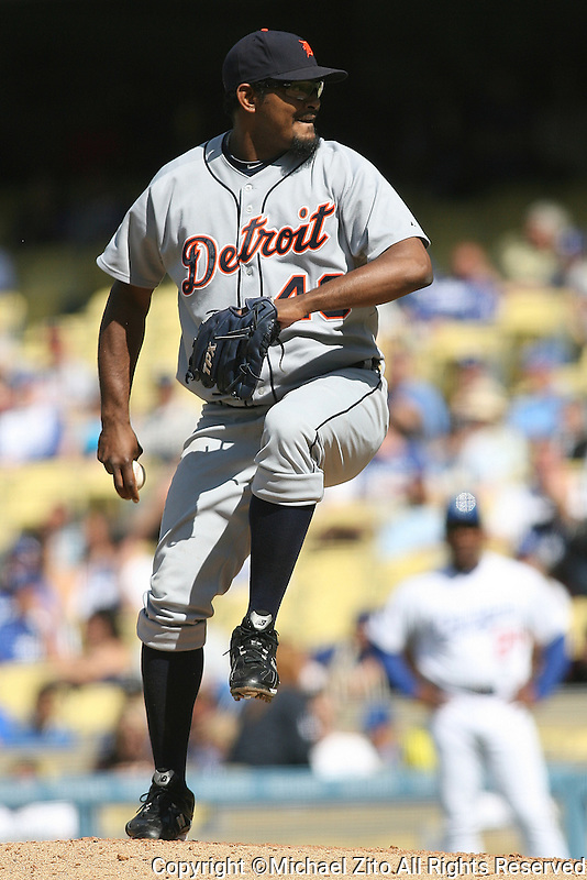 06/25/10 Los Angeles, CA: Detroit Tigers relief pitcher Jose Valverde #46 during an MLB game played at Dodger Stadium between the Detroit Tigers and Los Angeles Dodgers. The Tigers defeated the Dodgers 6-2.