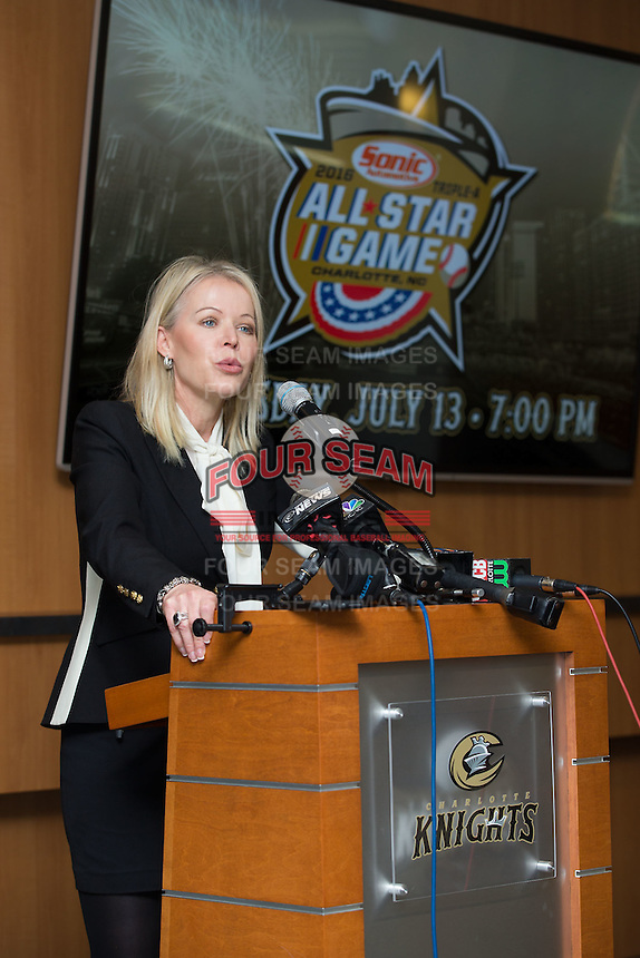 Rachel Richards, VP, Chief Marketing Officer of Sonic Automotive, Inc., addresses the media after Sonic Automotive, Inc. was announced as the title sponsor of the 2016 Triple-A Baseball All-Star Game at BB&T Ballpark on February 17, 2016 in Charlotte, North Carolina.  The Triple-A Baseball All-Star game and associated events will take place July 11-13, 2016 at BB&T Ballpark.  (Brian Westerholt/Four Seam Images)