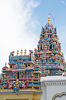 Malaysia, Penang. Old Georgetown Streets - a UNESCO World Heritage site. Sri Mariamman Hindu Temple, little India.