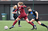 20200208 – BRUGGE, BELGIUM : Genk's Nikki Janssen  pictured with Club Brugge's Isabelle Iliano during a women soccer game between Dames Club Brugge and KRC Genk Ladies on the 15 th matchday of the Belgian Superleague season 2019-2020 , the Belgian women's football  top division , saturday 08 th February 2020 at the Jan Breydelstadium – terrain 4  in Brugge  , Belgium  .  PHOTO SPORTPIX.BE | DAVID CATRY
