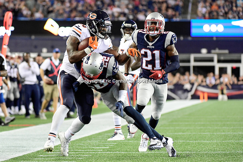 Thursday, August 18 2016: New England Patriots cornerback Justin Coleman (22) tackles Chicago Bears running back Jeremy Langford (33) out of bounds during a pre-season NFL game between the Chicago Bears and the New England Patriots held at Gillette Stadium in Foxborough Massachusetts. The Patriots defeat the Bears 23-22 in regulation time. Eric Canha/Cal Sport Media