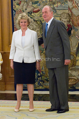 SPAIN - JULY 30, 2012: King Juan Carlos I of Spain attends the audience with Soledad Becerril Bustamante, Defender of the People, at the Royal Palace of La Zarzuela. Credit: Alterphotos/Marta Gonzalez/NortePhoto/MediaPunch Inc. ***FOR USA ONLY***