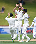 4th December 2017, Basin Reserve, Wellington, New Zealand; International Test Cricket, Day 4, New Zealand versus West Indies;  Colin de Grandhomme celebrates the wicket of Ambris