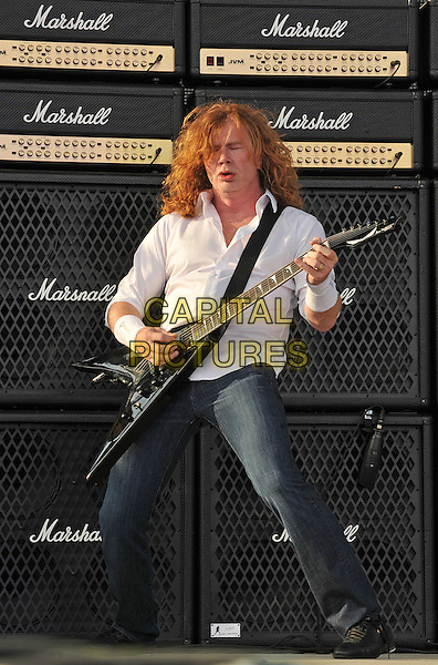 "Vocalist/guitarist DAVE MUSTAINE of the metal band MEGADETH performs at Day 2 of the  'Rock On The Range Festival"" held at Crew Stadium, Columbus, OH., USA..May 20th, 2012    .on stage in concert live gig performance performing full length white shirt guitar jeans denim speakers marshall                                  .CAP/ADM/JN.©Jason L Nelson/AdMedia/Capital Pictures."
