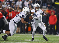 College Park, MD - November 25, 2017: Penn State Nittany Lions quarterback Trace McSorley (9) hands the ball off to Penn State Nittany Lions running back Saquon Barkley (26) during game between Penn St and Maryland at  Capital One Field at Maryland Stadium in College Park, MD.  (Photo by Elliott Brown/Media Images International)