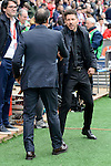 Atletico de Madrid's coach Diego Pablo Simeone and Valencia CF's coach Salvador Gonzalez Marco Voro during La Liga match between Atletico de Madrid and Valencia CF at Vicente Calderon Stadium  in Madrid, Spain. March 05, 2017. (ALTERPHOTOS/BorjaB.Hojas)