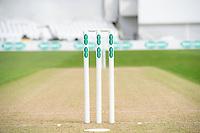 Picture by Allan McKenzie/SWpix.com - 20/04/2018 - Cricket - Specsavers County Championship - Yorkshire County Cricket Club v Nottinghamshire County Cricket Club - Emerald Headingley Stadium, Leeds, England - Specsavers, branding, wickets, stumps.