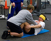 Patrick Cehlin (Sweden - 9), William Wallén (Sweden - 22) - Members of Team Sweden worked out at the Urban Plains Center in Fargo, North Dakota, on Friday, April 17, 2009, during the 2009 World Under 18 Championship.