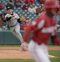 NWA Democrat-Gazette/ANDY SHUPE<br />South Carolina third baseman Jonah Bride throws out Arkansas third baseman Casey Martin Saturday, April 14, 2018, during the fifth inning at Baum Stadium. Visit nwadg.com/photos to see more photographs from the game.
