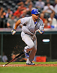 13 September 2008: Kansas City Royals' catcher Miguel Olivo in action against the Cleveland Indians at Progressive Field in Cleveland, Ohio. The Royals defeated the Indians 8-4 in the second game, sweeping their double-header...Mandatory Photo Credit: Ed Wolfstein Photo