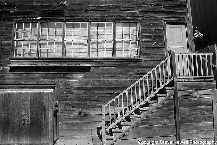 """Monterey's Past"" Black and White. Cannery Row, Monterey, California. While shooting in the area for a week I noticed some of the historical buildings in the region. I like the blending of the new within the old to maintain some of the cultural history of this scenic city's ocean front. This an old building on Monterey's famed Cannery Row."