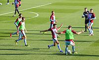 The Burnley team warm up before the match<br /> <br /> Photographer Alex Dodd/CameraSport<br /> <br /> UEFA Europa League - Europa League Qualifying Round 2 2nd Leg - Burnley v Aberdeen - Thursday 2nd August 2018 - Turf Moor - Burnley<br />  <br /> World Copyright © 2018 CameraSport. All rights reserved. 43 Linden Ave. Countesthorpe. Leicester. England. LE8 5PG - Tel: +44 (0) 116 277 4147 - admin@camerasport.com - www.camerasport.com