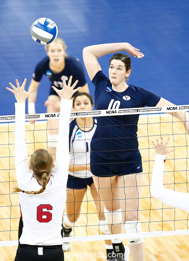Boswell, Amy_SW10097<br /> <br /> 14wVLB NCAA vs Nebraska<br /> <br /> BYU's (10) Amy Boswell spikes the ball past Nebraska's Kadie Rolfzen. The BYU Women's Volleyball Team plays against Nebraska in the Regional Final Round of the NCAA Women's Volleyball Championships held at the Alaska Airlines Arena in Seattle, Washington.<br /> <br /> December 13, 2014<br /> <br /> Photo by Jaren Wilkey/BYU<br /> <br /> &copy; BYU PHOTO 2014<br /> All Rights Reserved<br /> photo@byu.edu  (801)422-7322