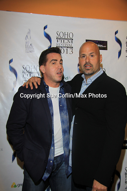 "Actor Anthony Mangano & Joe Basile (also is director and writer of this film) star in ""West End"" a film by Joe Basile about Family, Betrayal, Revenge - Greeting from the Jersey Shore - with its premiere at the Soho International Film Festival on April 11, 2013 at the Sunshine Cinema, New York City, New York. (Photo by Sue Coflin/Max Photos)"