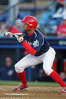 Reading Phillies outfielder Tyson Gillies #13 during a game against the Portland Seadogs at FirstEnergy Stadium on April 7, 2012 in Reading, Pennsylvania.  Reading defeated Portland 4-1.  (Mike Janes/Four Seam Images)