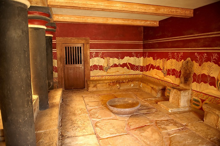 Arthur Evans reconstruction of the the so-called Throne Room or Little Throne Room, Knossos Minoan archaeological site