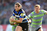 Max Clark of Bath Rugby in possession. Aviva Premiership match, between Bath Rugby and Newcastle Falcons on September 23, 2017 at the Recreation Ground in Bath, England. Photo by: Patrick Khachfe / Onside Images