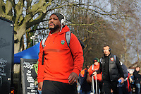 Steffon Armitage arrives at the Recreation Ground with the rest of the Toulon team. European Rugby Champions Cup match, between Bath Rugby and RC Toulon on January 23, 2016 at the Recreation Ground in Bath, England. Photo by: Patrick Khachfe / Onside Images