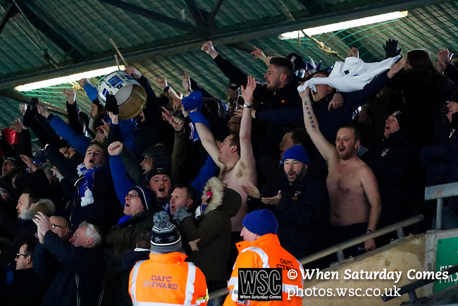 Goal celebration by Portsmouth fans. Oldham v Portsmouth League 1