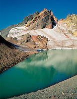 Broken Top Mountain, tarn lake and glacier. Three Sisters Mountain, Oregon