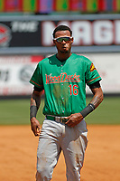 Down East Wood Ducks outfielder Jairo Beras (16) during a game against the Carolina Mudcats  on April 27, 2017 at Five County Stadium in Zebulon, North Carolina. Carolina defeated Down East 9-7. (Robert Gurganus/Four Seam Images)