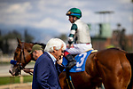 MAR 07: Bob Baffert on the phone  after 1.8 million dollar purchase Gamine breaks her maiden at Santa Anita Park in Arcadia, California on March 7, 2020. Evers/Eclipse Sportswire/CSM