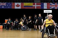 Ben Fawcett (AUS) vs GB<br /> Australian Wheelchair Rugby Team<br /> 2018 IWRF WheelChair Rugby <br /> World Championship / Semi Finals<br /> Sydney  NSW Australia<br /> Thursday 9th August 2018<br /> © Sport the library / Jeff Crow / APC