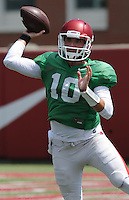 NWA Democrat-Gazette/ANDY SHUPE<br /> Arkansas quarterback Brandon Allen (10) works through drills Thursday, Aug. 13, 2015, during practice at the university practice field in Fayetteville.