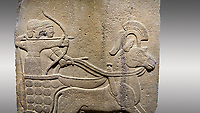 Picture & image of Hittite relief sculpted orthostat stone panel of Long Wall. Close up of Chariot. Karkamıs, (Kargamıs), Carchemish (Karkemish). Anatolian Civilisations Museum.