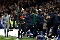 5th November 2019; Stamford Bridge, London, England; UEFA Champions League Football, Chelsea Football Club versus Ajax; Chelsea Manager Frank Lampard celebrates the goal from Reece James for 4-4 in the 74th minute - Editorial Use