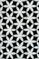 Fiona, a waterjet mosaic shown in polished Calacatta Tia and honed Nero Marquina, is part of the Silk Road collection by Sara Baldwin for New Ravenna.