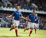 David Templeton celebrates his second and Rangers fourth goal