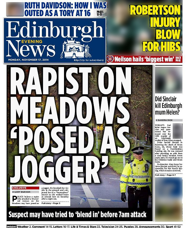 Edinburgh Evening News, front page and page 5. <br />
