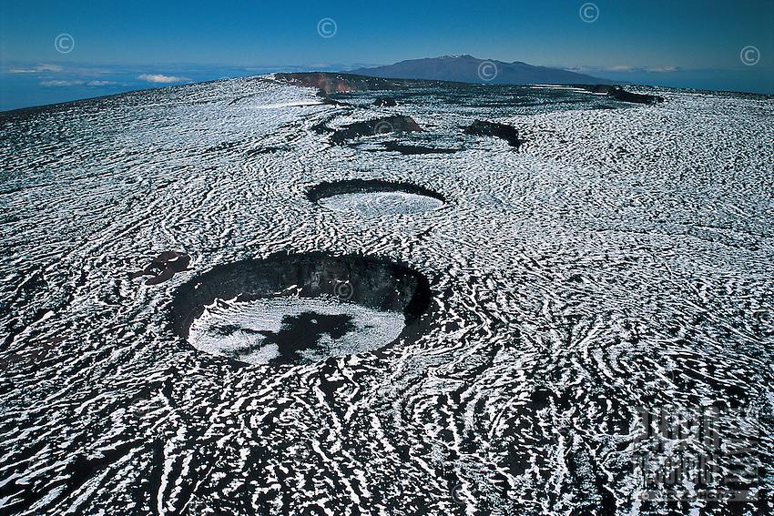 Snow covering calderas of Mauna Loa Volcano, Hawai'i Volcanoes National Park, Big Island.