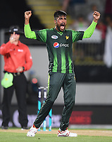 Pakistan's Mohammad Amir celebrates the wicket of Munro.<br /> Pakistan tour of New Zealand. T20 Series.2nd Twenty20 international cricket match, Eden Park, Auckland, New Zealand. Thursday 25 January 2018. &copy; Copyright Photo: Andrew Cornaga / www.Photosport.nz