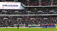 The two sides observe a minutes silence before Tottenham Hotspur vs Crystal Palace, Premier League Football at Wembley Stadium on 5th November 2017