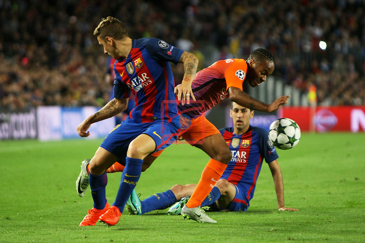 UEFA Champions League 2016/2017 - Matchday 3.<br /> FC Barcelona vs Manchester City FC: 4-0.<br /> Lucas Digne, Raheem Sterling &amp; Sergio Busquets.