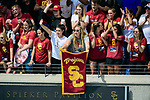 LOS ANGELES, CA - MAY 13: University of Southern California fans cheer during the Division I Women's Water Polo Championship held at the Uytengsu Aquatics Center on the USC campus on May 13, 2018 in Los Angeles, California. USC defeated Stanford 5-4. (Photo by Tim Nwachukwu/NCAA Photos via Getty Images)