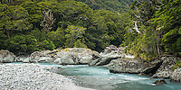 Matukituki River at Pearl Flat, Mt. Aspiring National Park, Central Otago, UNESCO World Heritage Area, South Island, New Zealand, NZ