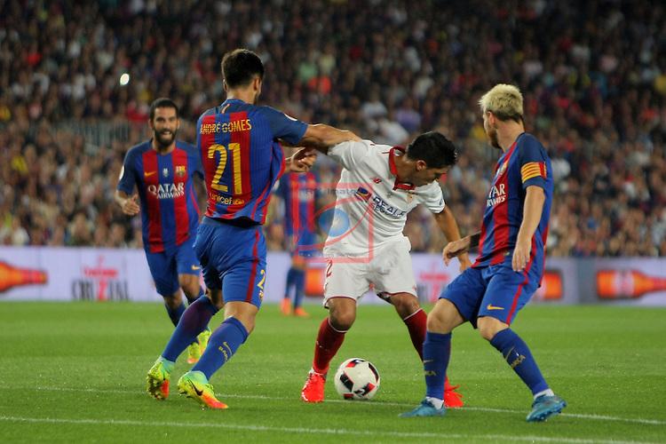 League Santander 2016/2017.<br /> Supercopa de Espa&ntilde;a - Vuelta.<br /> FC Barcelona vs Sevilla FC: 3-0.<br /> Andre Gomes, Ben Yedder &amp; Lionel Messi.