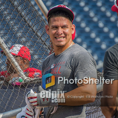 23 July 2016: Washington Nationals catcher Wilson Ramos awaits his turn in the batting cage prior to a game against the San Diego Padres at Nationals Park in Washington, DC. The Nationals defeated the Padres 3-2 on a Stephen Drew pinch-hit, walk-off triple in the bottom of the 9th inning to tie their series at one game apiece. Mandatory Credit: Ed Wolfstein Photo *** RAW (NEF) Image File Available ***