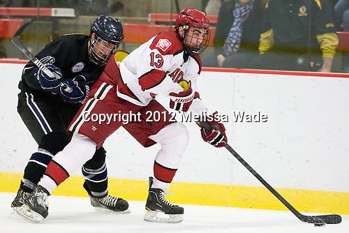 Joe Campanelli (Bentley - 16), Tommy O'Regan (Harvard - 13) - The Harvard University Crimson defeated the visiting Bentley University Falcons 5-0 on Saturday, October 27, 2012, at Bright Hockey Center in Boston, Massachusetts.