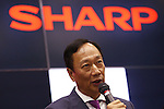 Terry Gou, Founder and Chairman of Taiwanese electronics contractor Foxconn (official name Hon Hai Precision Industry Co., Ltd.) speaks at a joint press conference with Sharp Corp. held at Sakai Display Products Corporation on April 2, 2016 in Sakai Ward, Osaka, Japan. Gou and Takahashi announced the final terms for the deal for the Foxconn to acquire Japans Sharp at discounted rate on after a month of uncertainty. Originally Foxconn had offered $4.4 billion for a two-thirds stake in Sharp, but ended up paying $3.5 billion after undisclosed Sharp liabilities became apparent. Foxconn is expected to use its controlling stake in Sharp to strengthen its negotiating position with its biggest customer, Apple Inc., now that it has access to Japanese companys superior screen display technology. (Photo by Shingo Ito/AFLO)