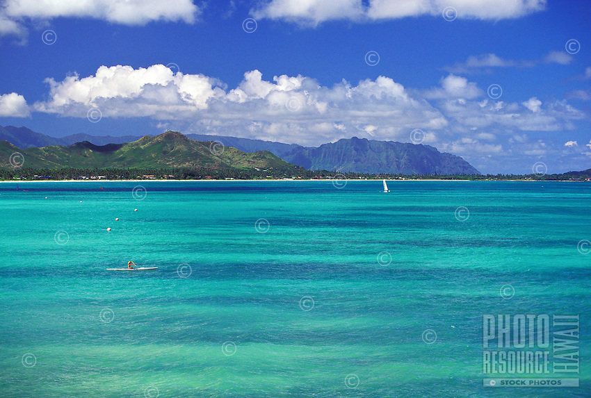 Kayaking off lanikai beach with a winward side view of the koolau mountains